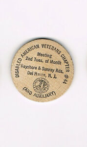 Vintage-Wooden-Nickel-Disabled-American-Veterans-Chapter-44-Del-Haven-NJ