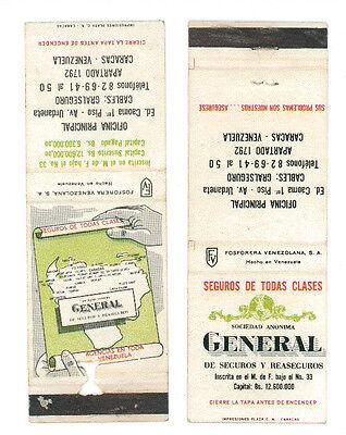 SOCIEDAD ANONIMA GENERAL DE SEGUROS CARACAS VENEZUELA 2 MATCHBOX LABEL ANNI '50