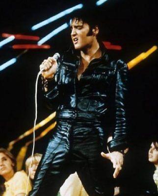Mens Rock N Roll Elvis Presley Black Leather Jacket