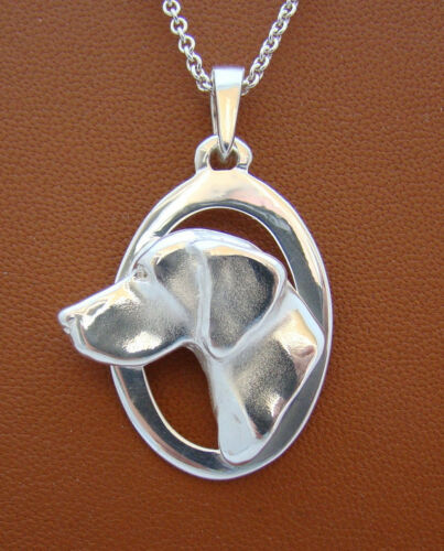 Sterling Silver German Shorthaired PointerLarge Head Study On A Vertical Oval Fr