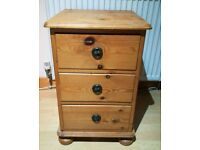 Solid pine bed side drawers