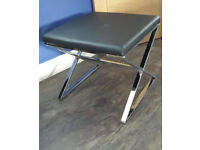 Leather Footstool Chair Chrome Base