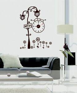 New Home Fashion Wall Clock Retro Street Lamp Wall Decal Sticker - Wall decals clock