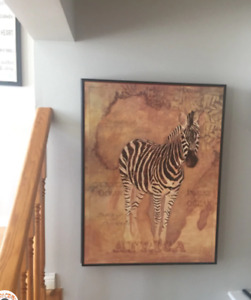 "Beautiful Zebra painting - 32"" x 24"" numbered print paperwork on"