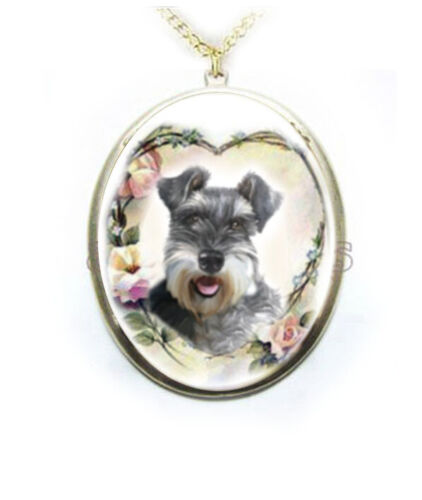Schnauzer Dog Rose Heart Wreath Porcelain Cameo Necklace Pendant Handmade Mother