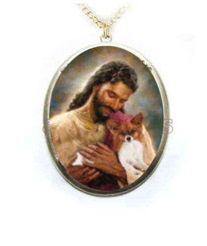 Papillon dog Jesus Porcelain Cameo Necklace Handmade Jewelry Pendant NEW gold pd
