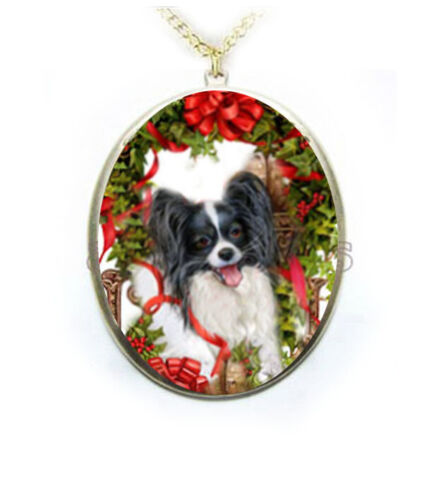 Papillon dog Christmas Porcelain Cameo Necklace Handmade Jewelry Pendant NEW