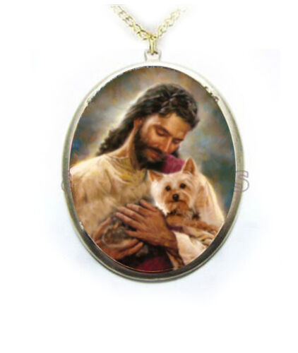 Yorkie Terrier Dog Jesus Porcelain Cameo Necklace Handmade Jewelry Christmas