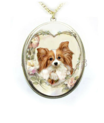Papillon Dog Porcelain Cameo Necklace Handmade Jewelry Pendant NEW gold plated