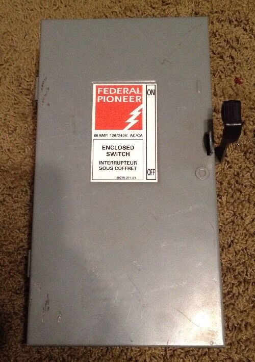 Federal Pioneer 60 Amp Fusible Disconnect Safety Switch 120/240 V