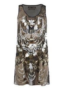 All Saints Spitalfields Titaness Dress Sz 6 Embellished Hand Sown Sleeveless BLK