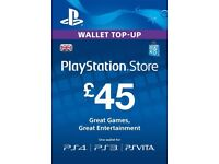 Selling 2x£45 PlayStation store voucher codes