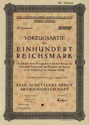 Paul Schettlers Erben Zeitung 1935 Köthen Sachsen Anhalt Historische Wertpapiere
