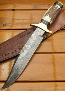 CUSTOM MADE DAMASCUS - LARGE - BOWIE Bush Hunting Knife – STAG HORN DEER