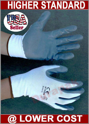 48 Pairs White Nylon Work Gloves w/ Gray Nitrile Palm Finger Coating S, M, L, XL ()