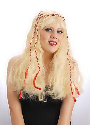 Halloween Blonde Hippie MYSTIQUE Long Wig Fancy Dress Costume