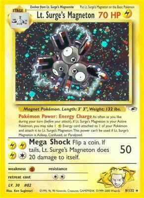 Lt. Surge's Magneton Holofoil Rare LP WOTC Pokemon Card 008 Gym Heroes