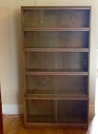 Five tier glass fronted bookcase in solid oak