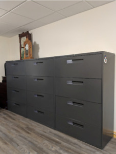 Three - Legal Size 4 Drawer Filing Cabinets