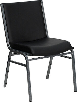 Heavy Duty Black Vinyl Stack Office Guest Chair