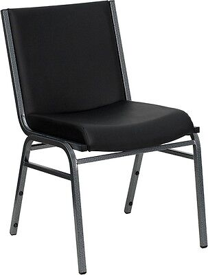 Heavy Duty Black Vinyl Stackable Office Guest Chair - Reception Area Side Chair