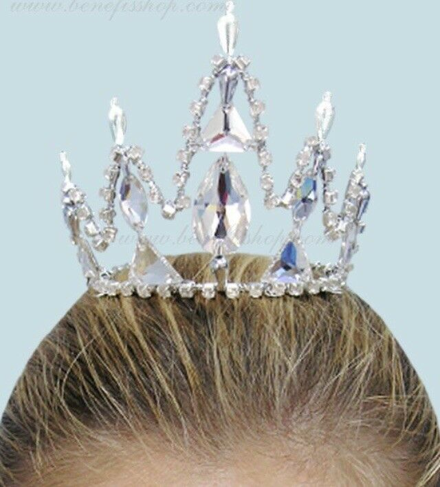 🇺🇸 Snow Queen Nutcracker Silver Crystal Ballet Costume Tiara Crown Headpiece