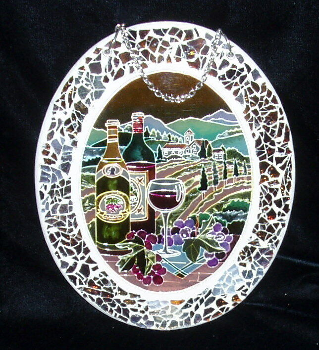 AMIA Large Glass Suncatcher 9 By 7 , Crackle Effect Border, Wine Theme - $9.00