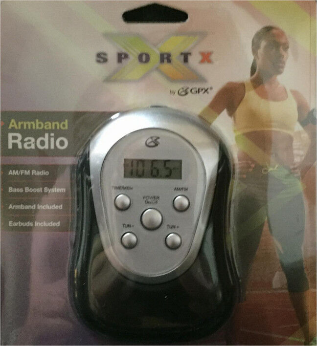 GPX Digital AM FM Radio with Sport Armband and Earbuds Black