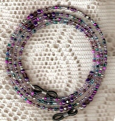 "Eyeglass Chain~Purple Mix~Violet Aqua NEW~Mother's Day Gift~28""~Buy 3 SHIP FREE"