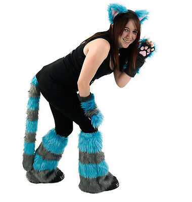PAWSTAR Cheshire Cat Costume - Furry Ears Tail Paws Leg Gray Teal Blue [ALT]4012 - Cheshire Cat Blue Costume