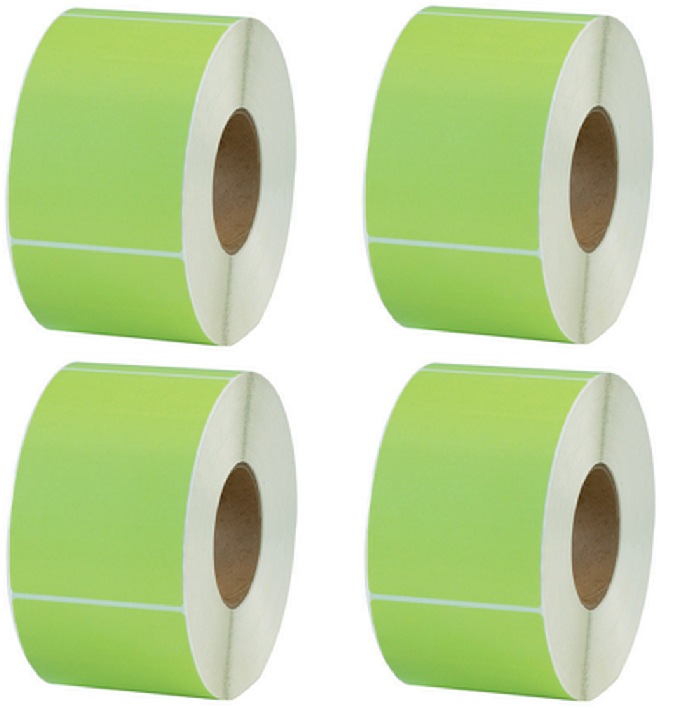 4″ x 6″ Green Thermal Transfer Color Labels Required  Ribbon 1000/rl, 4 Rolls Address & Shipping Labels