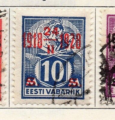 Estonia 1928 Early Issue Fine Used 10s. Optd 087892