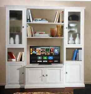 Parete attrezzata bianca classica soggiorno classico 225 x50x 220h art 575 - Parete attrezzata bianca ...