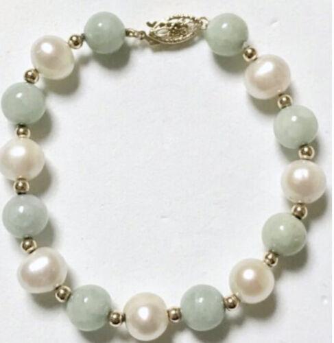 Elegant Signed 14K CPI Pearl & Jade Bead Yellow Gold Clasp & Spacer Bracelet