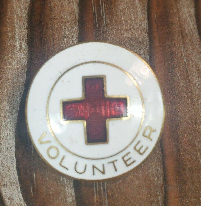 Red Cross Volunteer Badge Lapel Pin Red & White Enamel on Gold Tone Hallmark W