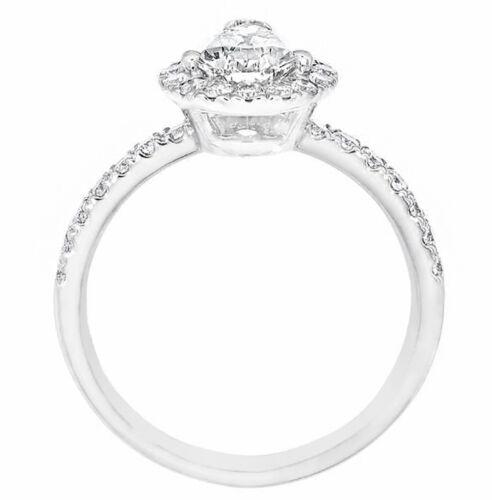 1.90 Carat Pear Shaped Halo Design Diamond Engagement Ring 18k White Gold GIA... 2