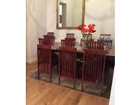 Beautiful high lacquered rosewood solid extendable table with 10 chairs & sideboard