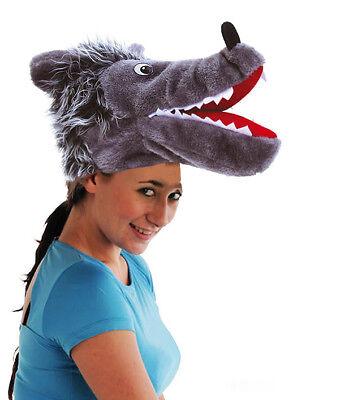 Silly Big Bad Wolf Hat Mens Ladies Adult Fancy Dress Costume Headwear Grey NEW