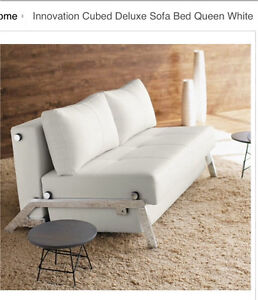 White leather queen size sofa bed Carlton Melbourne City Preview
