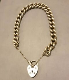 Silver heart clasp and bracelet