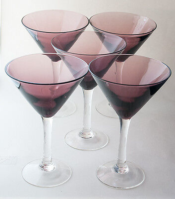 "Martini Glasses Amethyst Purple Javier and Efren Mexican Hand Blown 7"" 12 fl.oz."