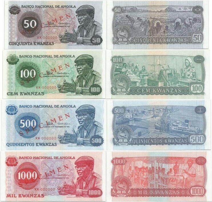 ANGOLA SPECIMEN SET 50-1000 KWANZA P 110s-113s 1976 ALL UNCIRCULATED