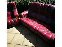 Vintage Burgundy Leather Sofa & Chair