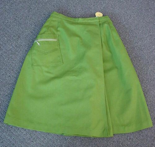 NOS-Vtg 70s White Stag Lime-Green Mod Sailcloth Culotte Skirt/Skorts/Shorts-XS