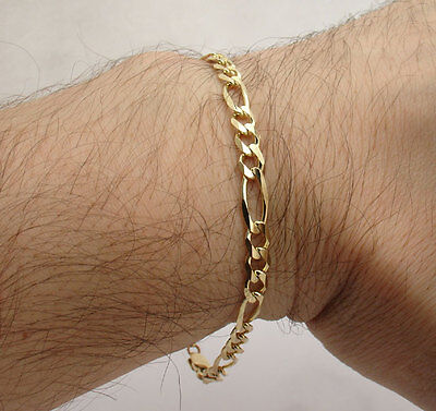 Mens Gold Figaro Bracelet - 5mm Mens Solid Figaro Link Chain Bracelet Real Solid 14K Yellow Gold ALL SIZES