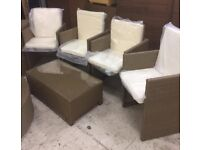 Ratan Set with 4 Chairs and Table