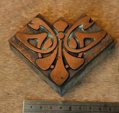 Letterpress Printing Block Corner Ornament Art Nouveau Frame Wood Rare Copper