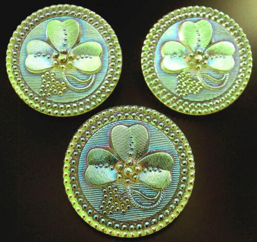 "3 Czech Vaseline Crystal Glass Buttons #B565 - 32 mm or 1-1/4"" - SHAMROCK - AB"