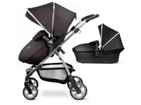 Nearly new silver cross wayfarer pioneer travel system pram pushchair and carrycot in black