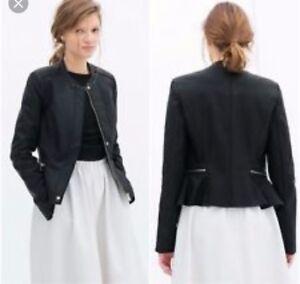 Zara peplum leather jacket